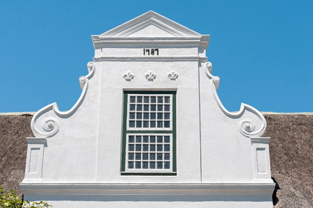 architectural style: Building in Paarl in the Western Cape Province of South Africa. Built in Cape Dutch architectural style