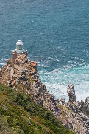 table mountain national park: New lighthouse at Diaz Point, Cape Point in the Table Mountain National Park in Cape Town, South Africa. Built 87 meters above sea level Stock Photo