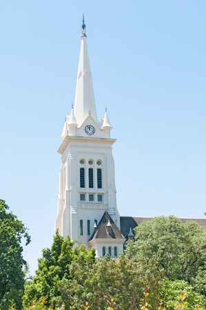 Steeple of the Dutch Reformed Church, Noorder-Paarl in the Western Cape Province of South Africa Stock Photo
