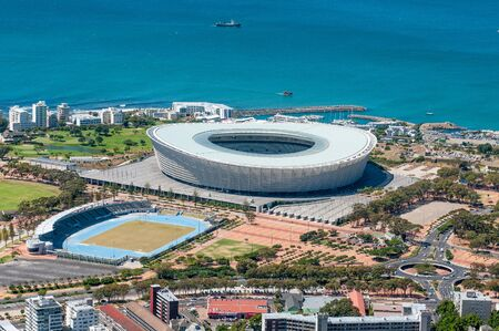 CAPE TOWN, SOUTH AFRICA - DECEMBER 18TH, 2014: The 68000 seater Cape Town Stadium at Green Point as seen from Signal Hill. Venue for several matches during the 2010 Soccer World Cup