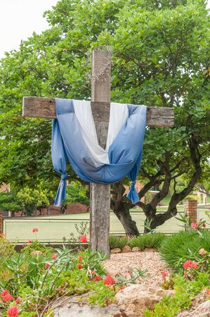 Wooden cross with thorn crown in Riversdale, South Africa