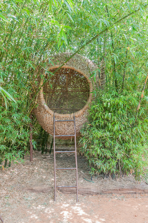weaved: Basket weaved from bamboo used as a resting place and reading room