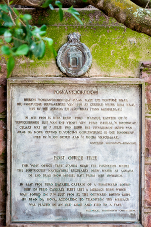 MOSSELBAY, SOUTH AFRICA - DECEMBER 30, 2014: Plaque at the Post office Tree at the Bartolomeu Dias Museum explaining the use of the tree used by early seafarers as post box