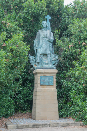 MOSSELBAY, SOUTH AFRICA - DECEMBER 30, 2014: Bronze statue of Bartolomeu Dias at the Dias Museum. Dias arrived at the Bay of Saint Blaise, later renamed Mosselbay, on 4 February 1488