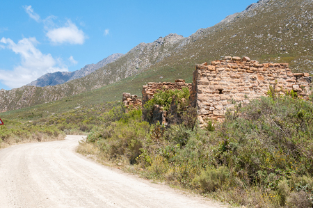 south africa soil: The ruins of the old toll house on the Swartberg Pass between Oudtshoorn and Prince Albert