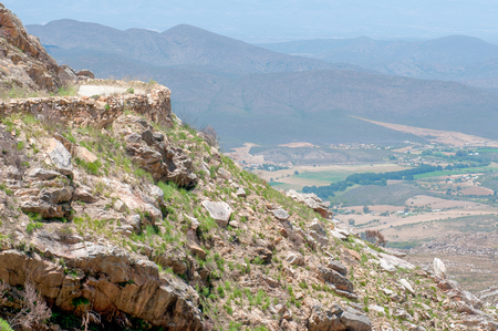 south africa soil: View from the Swartberg Pass to the East showing farms down in the valley