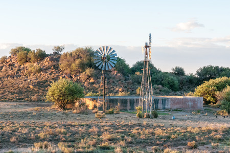 northern african: Sunset farm scene between Noupoort and Colesberg in the Northern Cape Province of South Africa