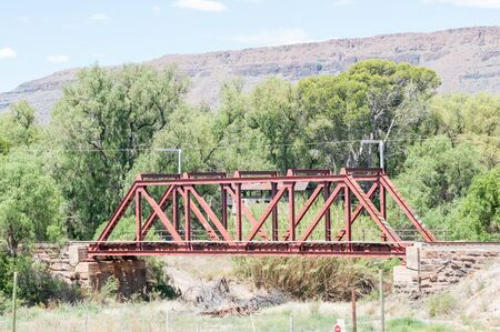 three sisters: Blockhouse south of Three Sisters. Used by the British troups to defend the railway bridge during the second Boer War 1899-1902. Stock Photo