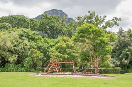 newlands: Childrens playground in the Kirstenbosch Botanical Gardens with Table Mountain in the back