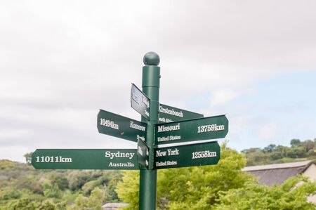newlands: Sign post at the Kirstenbosch National Botanical Gardens in Cape Town Stock Photo