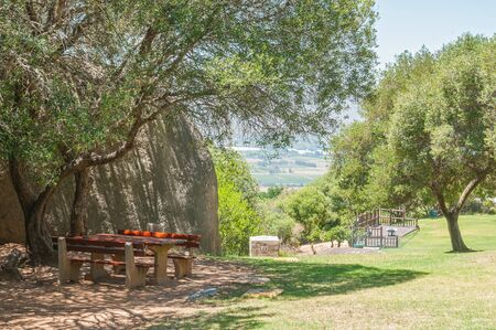 Shady picnic spot at the Afrikaans Language Monument in Paarl, South Africa photo
