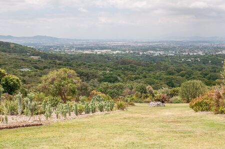 newlands: CAPE TOWN, SOUTH AFRICA - DECEMBER 9, 2014: View from Kirstenbosch National Botanical Gardens towards Newlands and Claremont. Newlands Rugby and Cricket Stadiums are visible Editorial