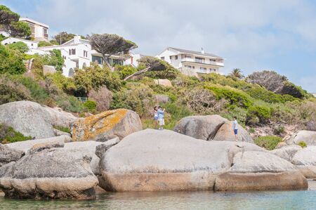 table mountain national park: CAPE TOWN, SOUTH AFRICA - DECEMBER 12, 2014:  The Boulders section of the Table Mountain National Park in Simons Town is home to a land-based colony of endangered African Penguins.