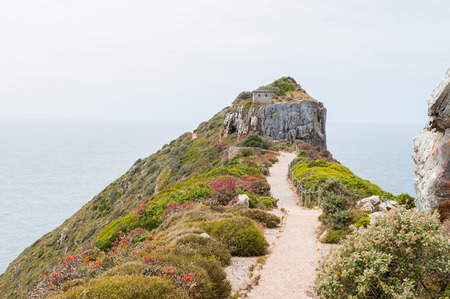 table mountain national park: Trail to the viewpoint above the new lighthouse at Dias Point in Cape Point in the Table Mountain National Park. Stock Photo