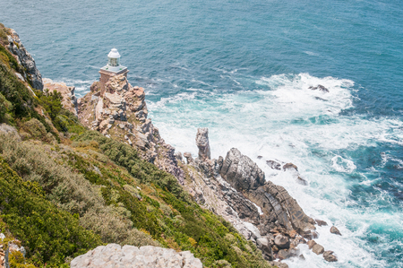 table mountain national park: New lighthouse at Dias Point Cape Point in the Table Mountain National Park. Built 87 meters above sea level