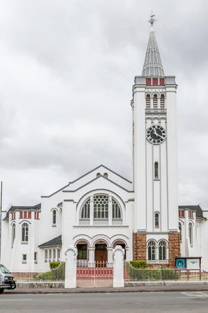 house of god: RIVERSDALE SOUTH AFRICA  DECEMBER 26 2014: The Dutch Reformed Church Riversdale in the Western Cape Province of South Africa. The text above the entrance says: The House of God the gate to Heaven Editorial