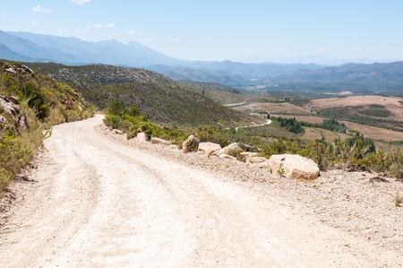 south africa soil: View from the Swartberg Pass between Oudtshoorn and Prince Albert towards Schoemansville and the Cango Caves