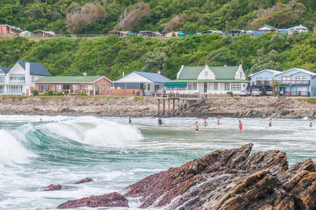 GEORGE SOUTH AFRICA  JANUARY 4 2015: Unidentified people holiday homes and a caravan park at Victoria Bay South Africa Editorial