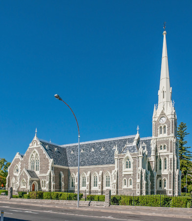 Late afternoon street scene in Graaff Reinet.  The Dutch Reformed Church built 18851887 is one of more than 200 buildings in the town declared as a national monument