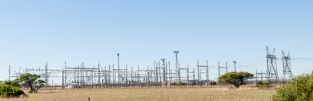 northern african: KIMBERLEY, SOUTH AFRICA - APRIL 5, 2015: Panorama of electricity infrastructure near Kimberley