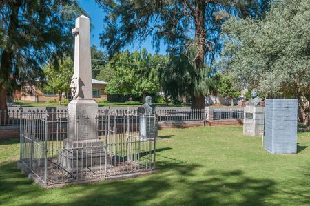 sh: BOSHOF, SOUTH AFRICA - APRIL 5, 2015: Memorials for S.H. Pellissier, General Gideon Joubert and a memorial for locals who died in the Anglo-Boer War 1899-1902