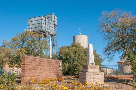 reservoirs: REDDERSBURG, SOUTH AFRICA - APRIL 26, 2015: Water reservoirs and a memorial for General CR de Wet in Reddersburg in the Free State Province of South Africa