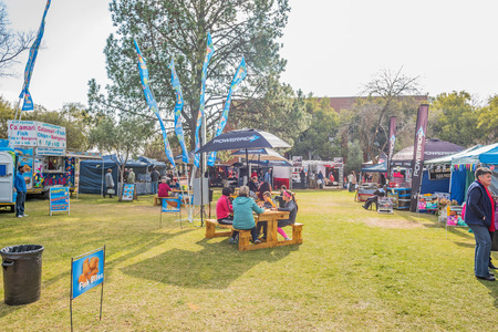 BLOEMFONTEIN, SOUTH AFRICA - JUNE 15, 2015: Unidentified visitors at the Free State Art Festival held yearly on the campus of the University of the Free State Editorial