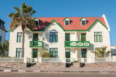 swakopmund: SWAKOPMUND, NAMIBIA - JUNE 9, 2011: An historic old building in Swakopmund, dating from the German era