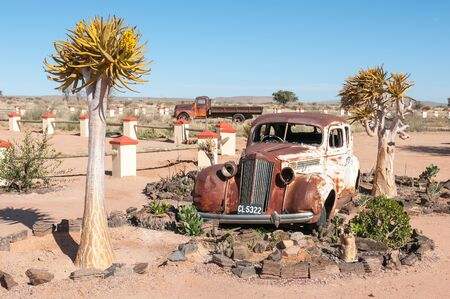 river stones: FISH RIVER CANYON, NAMIBIA - JUNE 17, 2011: A rusted old car in a succulent garden between flowering quiver trees at a lodge near the Fish River Canyon