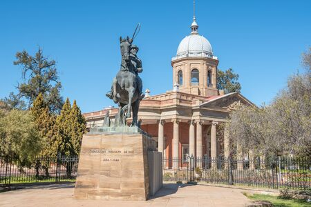 boer: Statue of CR de Wet, an Anglo Boer War general, in front of the historical Fourth Raadzaal, seat of Free State Provincial Government Editorial