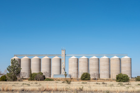 Grain silos at Modderrivier Mud River in the Northern Cape Province of South Africa Stock Photo