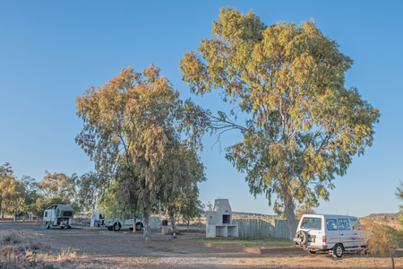 northern african: BRITSTOWN, SOUTH AFRICA - AUGUST 10, 2015:  Early morning at the Kambro Caravan Park near Britstown in the Northern Cape Province Editorial