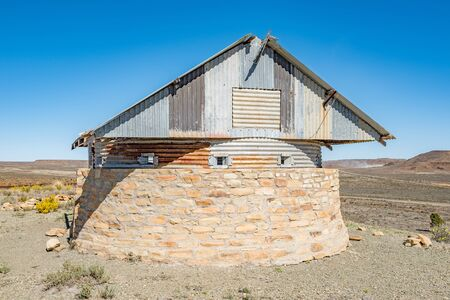boer: The blockhouse on Koeelkop bullet hill in Carnavon in the Northern Cape Karoo region was was used by the English forces to guard over the town during the Second Anglo Boer War