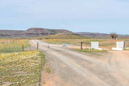 cattle grid: A typical sight on rural roads in South Africa - a gate for heavy vehicles which is closed permanently and a cattle grid for smaller vehicles. Photo shot near Gannabos