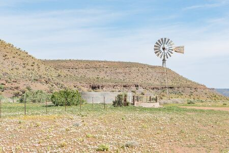 northern african: GANNABOS, SOUTH AFRICA - AUGUST 11, 2015: A water pumping windmill and dam with the Quiver Tree Forest to the left. This area  is usually abundant with wild flowers during August and early September
