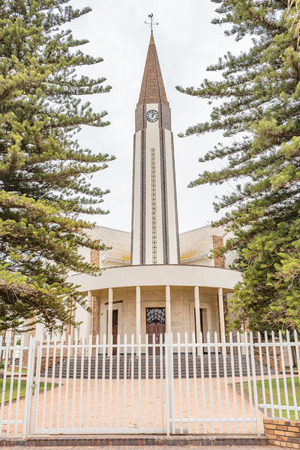 church steeple: The Dutch Reformed Mother Church in Vredendal in the Western Cape Province of South Africa Stock Photo