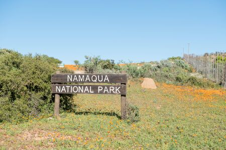 northern african: Sign at the entrance of the Namaqua National Park in the Namaqualand region of South Africa