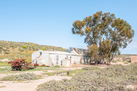 northern cape: SOUTFONTEIN, SOUTH AFRICA - AUGUST 15, 2015:  Farm buildings at Soutfontein salt fountain, a farm in the Northern Cape Namaqualand region of South Africa Editorial