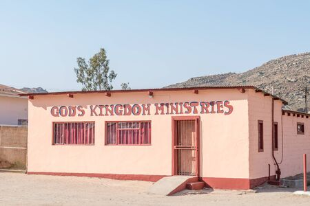 mining town: NABABEEP, SOUTH AFRICA - AUGUST 17, 2015: The Gods Kingdom Church in Nababeep, a small mining town in the Northern Cape Namaqualand Editorial