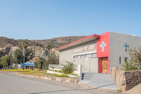 mining town: NABABEEP, SOUTH AFRICA - AUGUST 17, 2015: The Assembly of God Church in Nababeep, a small mining town in the Northern Cape Namaqualand