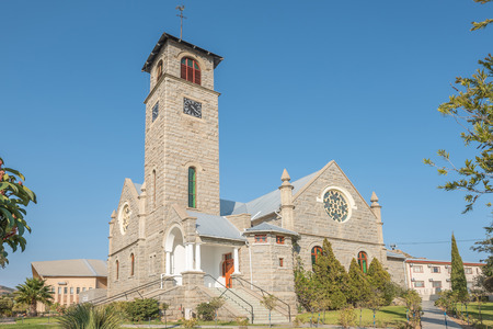 springbok: SPRINGBOK, SOUTH AFRICA - AUGUST 17, 2015: The Dutch Reformed Church Namakwaland in Springbok, the largest town in the Northern Cape Namaqualand region was built in 1921