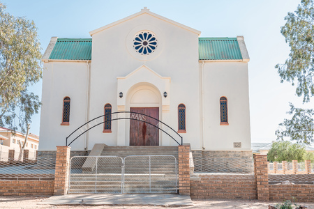 northern cape: OKIEP, SOUTH AFRICA - AUGUST 2015: The Heilige Rosekrans Church in Okiep, a small mining town in the Northern Cape Namaqualand.