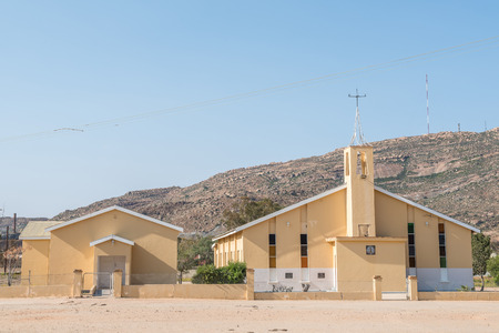 mining town: NABABEEP, SOUTH AFRICA - AUGUST 17, 2015: The United Reformed Church in Nababeep, a small mining town in the Northern Cape Namaqualand