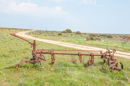 northern cape: An historic old plow at Matjiesfontein farm near Nieuwoudtville in the Northern Cape Province of South Africa