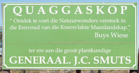 smuts: VANRHYNSDORP, SOUTH AFRICA - AUGUST 20, 2015: The nature reserve at Quaggaskop is dedicated to Jan Smuts who served as prime minister of the Union of South Africa and who was a dedicated botanist Editorial