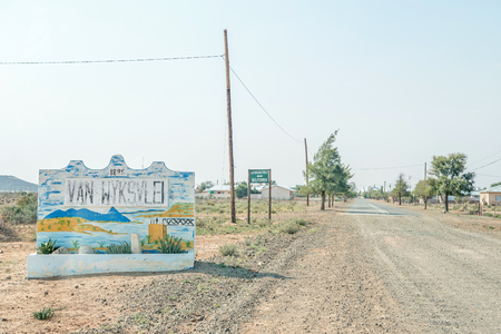 south africa soil: VANWYKSVLEI, SOUTH AFRICA - AUGUST 24, 2015: Entrance to Vanwyksvlei, a small town in the Northern Cape Karoo region of South Africa