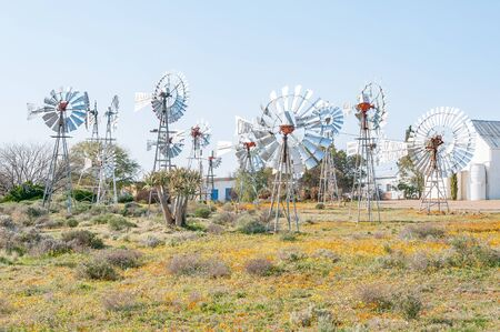 turner: LOERIESFONTEIN, SOUTH AFRICA - AUGUST 11, 2015: The Windmill museum next to the Fred Turner Museum in Loeriefontein in the Namaqualand region of the Northern Cape Province Editorial