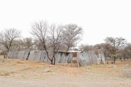 northern cape: Shacks near the confluence of the Gariep Orange and Vaal Rivers near Douglas in the Northern Cape Province of South Africa