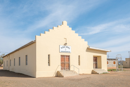 northern cape: LOERIESFONTEIN, SOUTH AFRICA - AUGUST 11, 2015: Hall of the United Reformed Church in Loeriesfontein, a small town in the Northern Cape Karoo region of South Africa