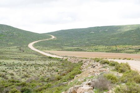 south africa soil: The road between Lutzville and Nuwerus in the Western Cape Province of South Africa Stock Photo